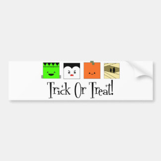Trick Or Treat Four Squares Bumper Stickers