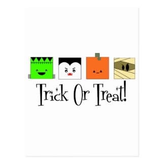 Trick Or Treat Four Squares Postcard