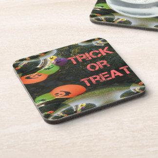 Trick or Treat Fractal Traced Pumpkins Beverage Coasters