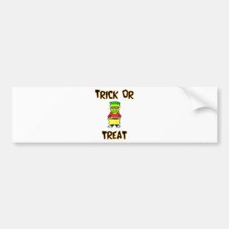Trick Or Treat Frankenstein Mask Bumper Sticker