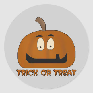 Trick or Treat Funky Pumpkin Classic Round Sticker