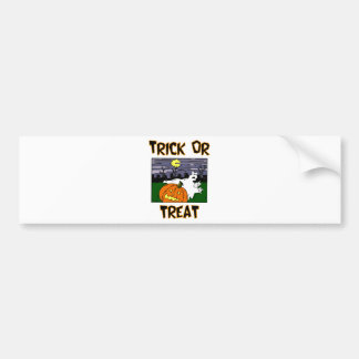 Trick Or Treat Ghost And Pumpkin In Graveyard Bumper Stickers