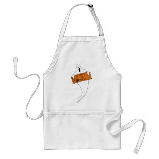 Trick or Treat Ghost Halloween Drawing Adult Apron