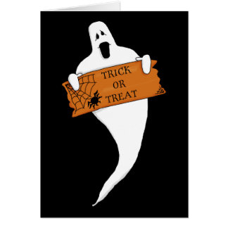 Trick or Treat Ghost Halloween Drawing Stationery Note Card