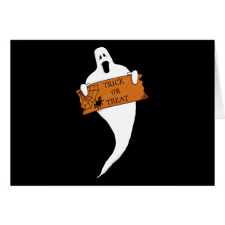 Trick or Treat Ghost Halloween Drawing Greeting Card
