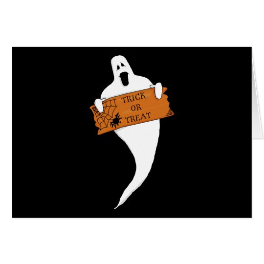 Trick or Treat Ghost Halloween Drawing Card