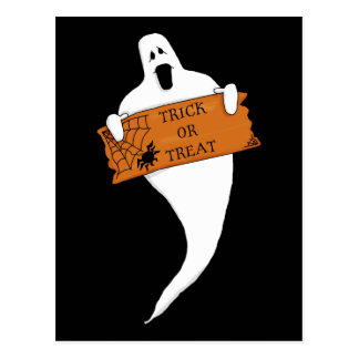 Trick or Treat Ghost Halloween Drawing Postcard