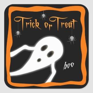 Trick or Treat Ghost Saying Boo Square Sticker
