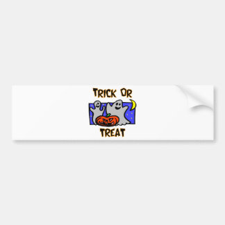 Trick Or Treat Ghosts With Pumpkins Bumper Stickers