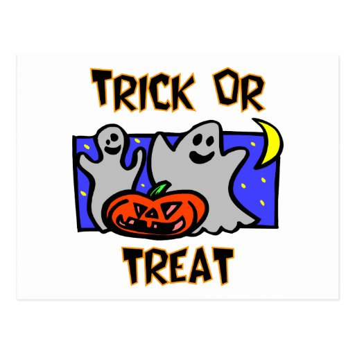 Trick Or Treat (Ghosts With Pumpkins) Postcard