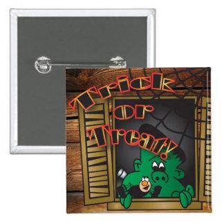Trick or Treat Green Frankenstein Buttons