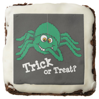 Trick or treat green fun spider graphic brownies square brownie