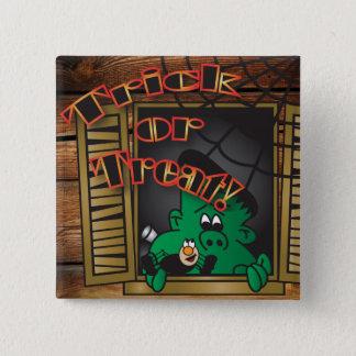 Trick or Treat Green Halloween Frankenstein Button