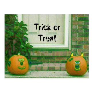 Trick or Treat Greenish Face Pumpkins Postcard