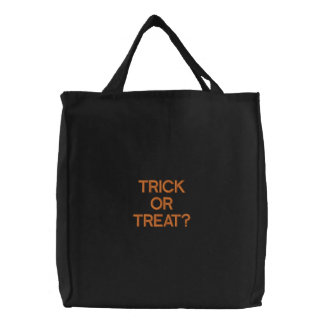 TRICK OR TREAT? Halloween Bag. Embroidered Tote Bag
