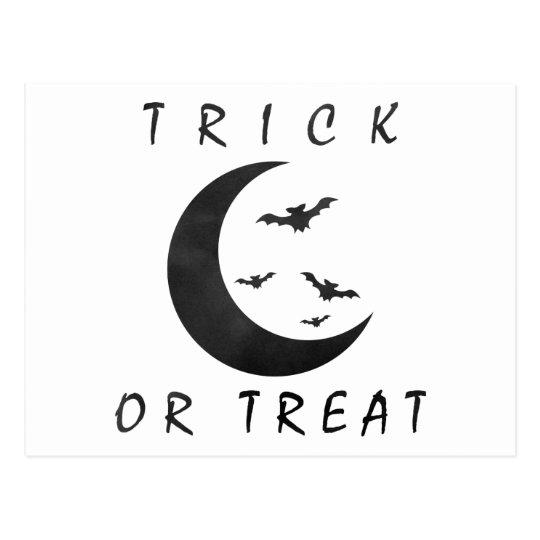 Trick Or Treat Halloween Bats Crescent Moon Postcard