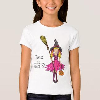 Trick or treat? Halloween blonde pink girl t-shirt
