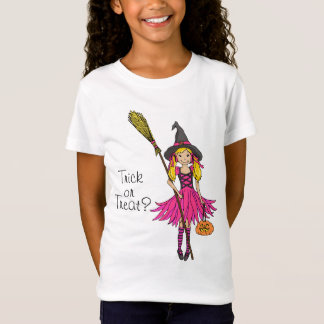 Trick or treat? Halloween blonde pink girl t-shirt
