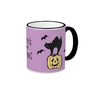 Trick or Treat Halloween Cat, Bats and Pumpkin Mug
