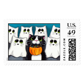 Trick or Treat Halloween Cat & Ghosts Stamp