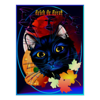 Trick or Treat Halloween Cat Oval Poster