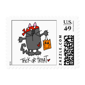 Trick Or Treat Halloween Cat Postage Stamp