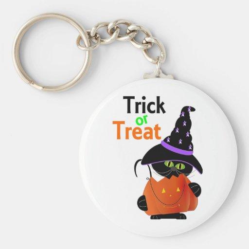 Trick Or Treat Halloween Cat With Pumpkin Key Chain