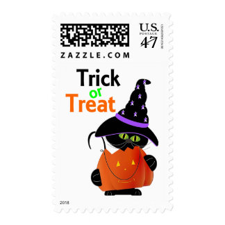 Trick Or Treat Halloween Cat With Pumpkin Postage