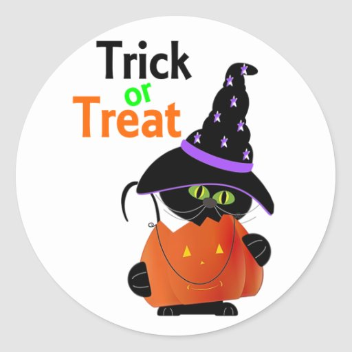 Trick Or Treat Halloween Cat With Pumpkin Stickers