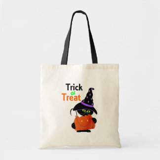 Trick Or Treat Halloween Cat With Pumpkin Tote Bag
