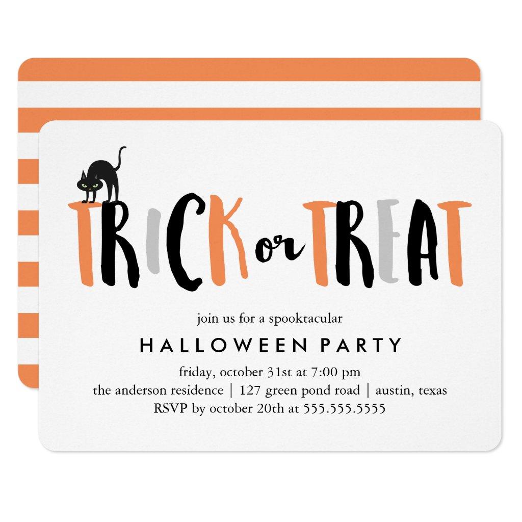 Trick or Treat Halloween Celebration Card