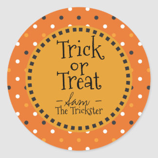 Trick Or Treat. Halloween Colors Polka Dots. Classic Round Sticker