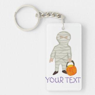 Trick or Treat Halloween Custom Name Zombie Mummy Double-Sided Rectangular Acrylic Keychain
