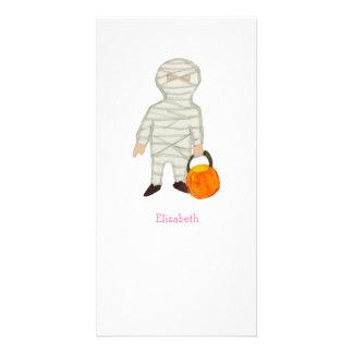 Trick or Treat Halloween Custom Name Zombie Mummy Photo Card