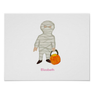Trick or Treat Halloween Custom Name Zombie Mummy Poster