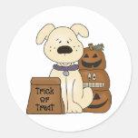 Trick Or Treat Halloween Dog Round Sticker