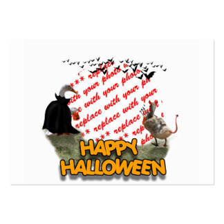 Trick or Treat Halloween Ducks Photo Frame Large Business Cards (Pack Of 100)