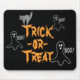 Trick-or-Treat Halloween Ghost Cat Mouse Pad