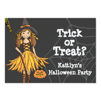 Trick or treat Halloween girls party invitation