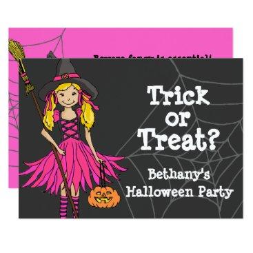 Mylittleeden Trick or treat Halloween girls party invitation