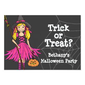 "Trick or treat Halloween girls party invitation 5"" X 7"" Invitation Card"