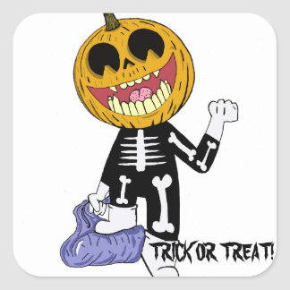 TRICK OR TREAT HALLOWEEN HOLIDAY FUN SQUARE STICKER