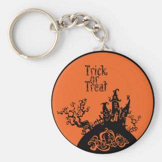 Trick or Treat Halloween House Basic Round Button Keychain