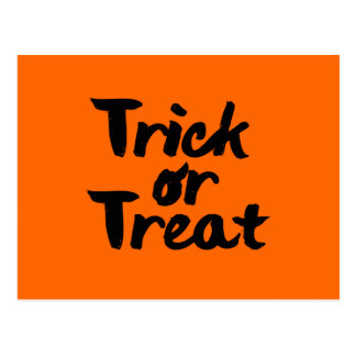 Trick or Treat Halloween Orange Black Brush Stroke Postcard