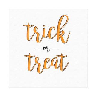 trick or treat halloween orange black simple canvas print