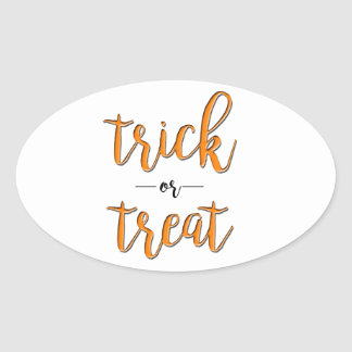 trick or treat halloween orange black simple oval sticker