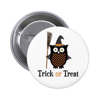 Trick or Treat Halloween owl Pinback Button