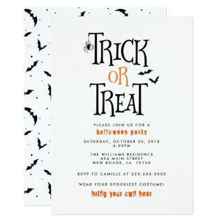 Trick or Treat Halloween Party Card