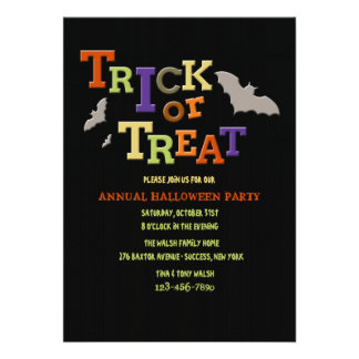 Trick or Treat Halloween Party Invitation