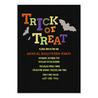 "Trick or Treat Halloween Party Invitation 5"" X 7"" Invitation Card"